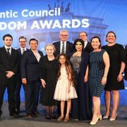 """""""Twitter girl"""" Bana Al-Abed receiving the Atlantic Council Freedom Award (2018)"""