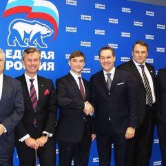 Kooperationsabkommen zwischen der FPÖ und Einiges Russland. In der Mitte HC Strache, zweiter von rechts Johann Gudenus (Dezember 2016).