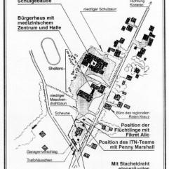 Lageplan des Lagers. Der abgesperrte Bereich ist unten im Bild.