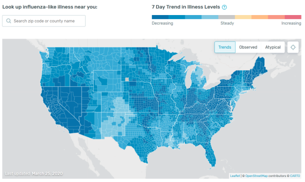 US Influenza Trend (March 25, 2020)